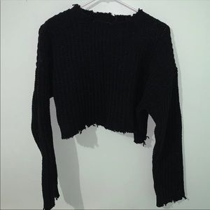 NWOT F21 Cropped Frayed Sweater